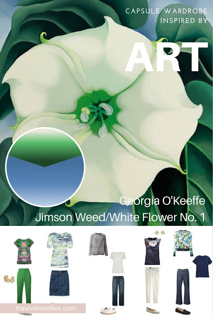 How to Build a Capsule Wardrobe by Starting with Art: Jimson Weed/White Flower No. 1 by Georgia O'Keeffe Part 2