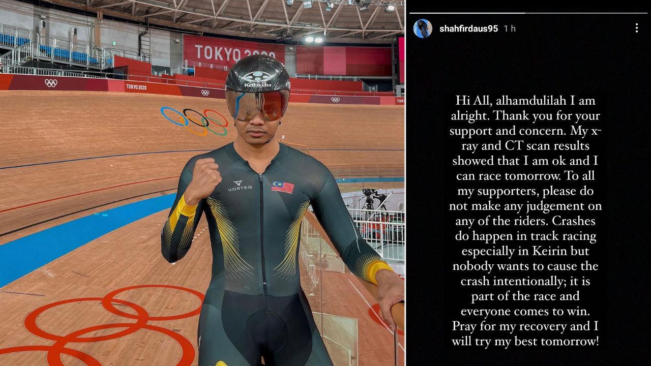 Shah Firdaus maklumkan beliau ok dan akan teruskan perlumbaan esok