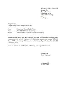 contoh surat izin sakit anak