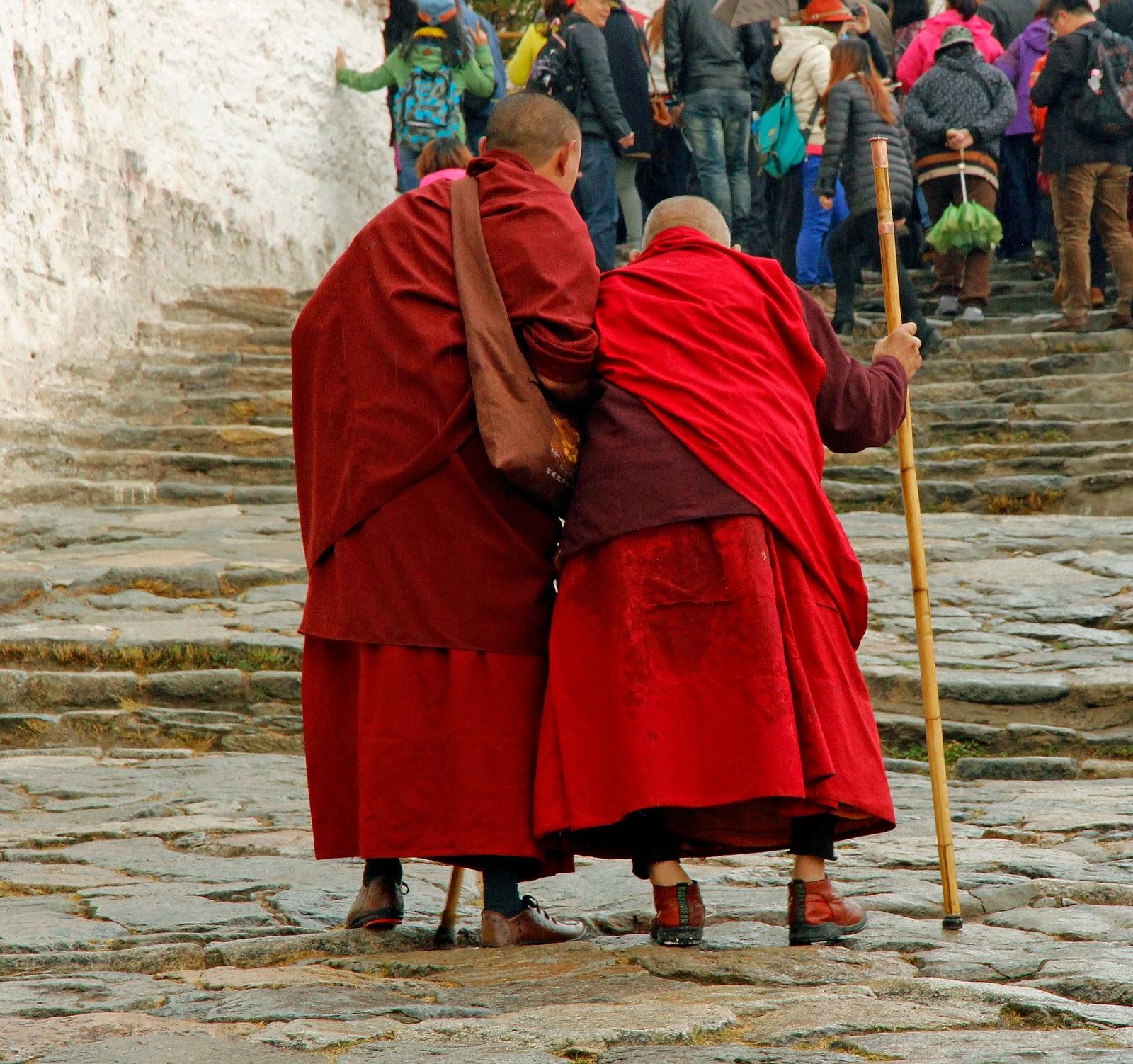 Monks walking up the Potala Palace