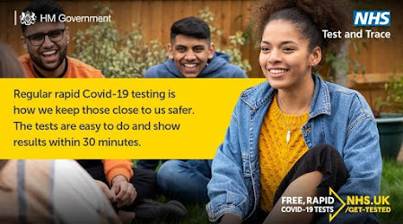 UK Government message lateral flow testing helps keep everyone safe and smiley people in a park