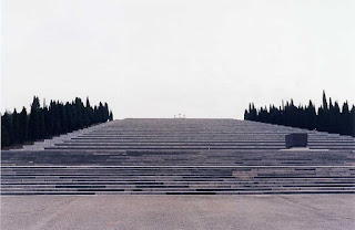 The vast memorial at the Redipuglia cemetery. The remains of Prince Emanuele Filiberto are buried in the sepulchre (right)