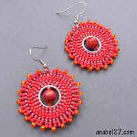 красные круглые серьги с кораллом - бисерные сережки
