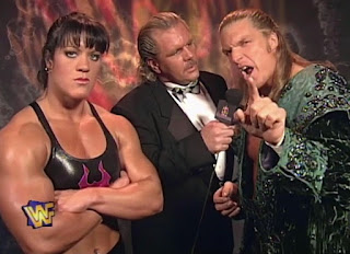WWF / WWE - Wrestlemania 13 - Doc Hendrix interviews Triple H (w/ Chyna)