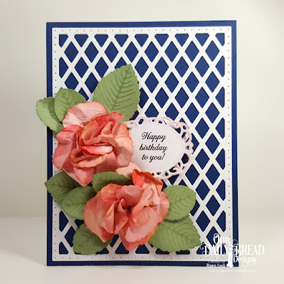 Our Daily Bread Designs Stamp Set: Lovely Flower, Custom Dies: Roses, Rose Leaves, Lattice Background, Fancy Fan