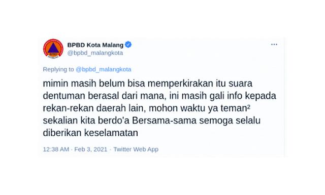Alam Sudah Murka, Dentuman Misterius Terjadi Dimana-mana, Kali Ini Terjadi di Malang Jawa Timur