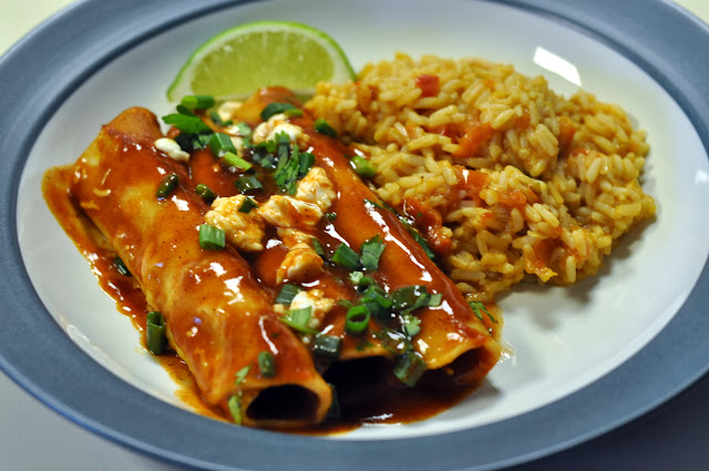 Weeknight Cheese Enchiladas with Spanish Rice | Taste As You Go