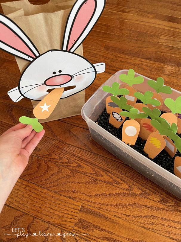 Feed the Bunny Color & Shape Carrots Free Printable Activity
