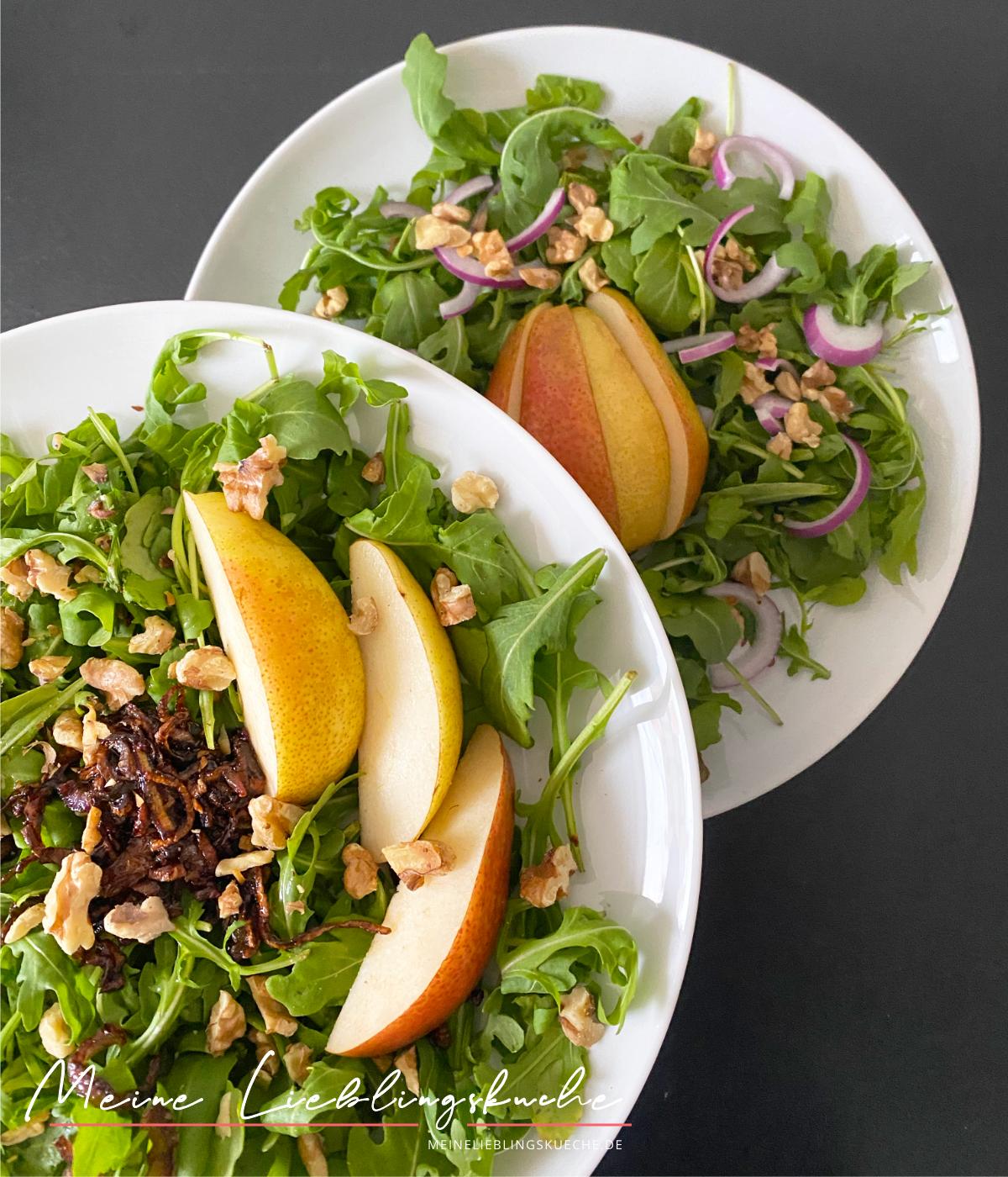 Salat mit Birnen und karamellisierten Zwiebeln