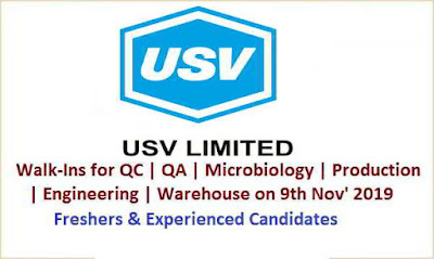 USV Pvt. Ltd - Walk-in interview for Freshers and Experienced candidates for Multiple positions on 9th November, 2019