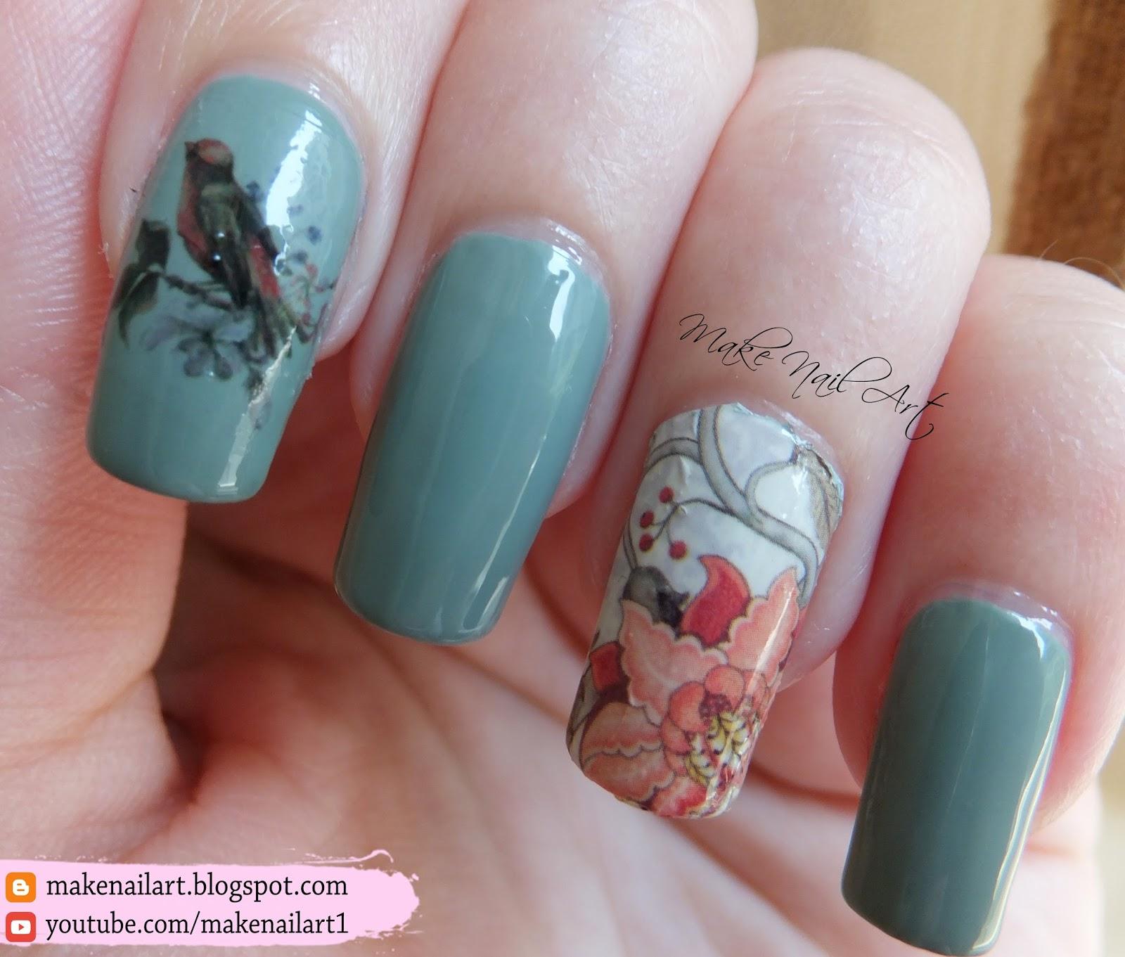 Make Nail Art: Vintage Flowers And Birds Nail Art Design - Nicole ...