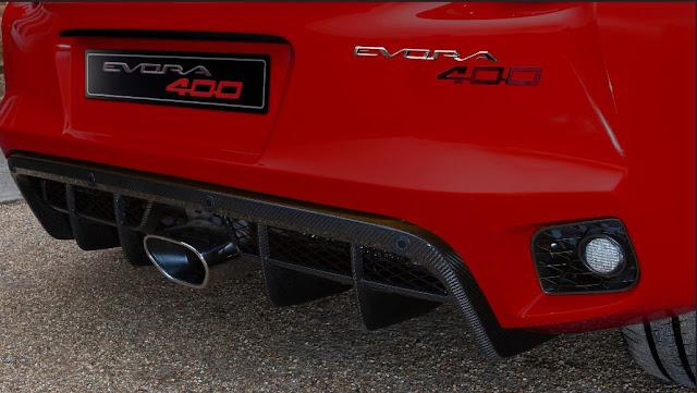 Diseño especial para el escape de titanio del Lotus Evora 400 Coupé