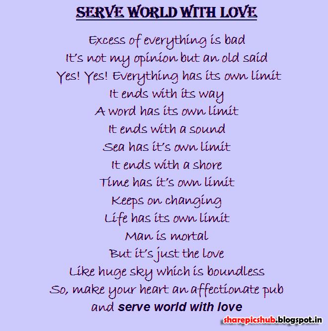 serve world love beautiful poem english share pics hub