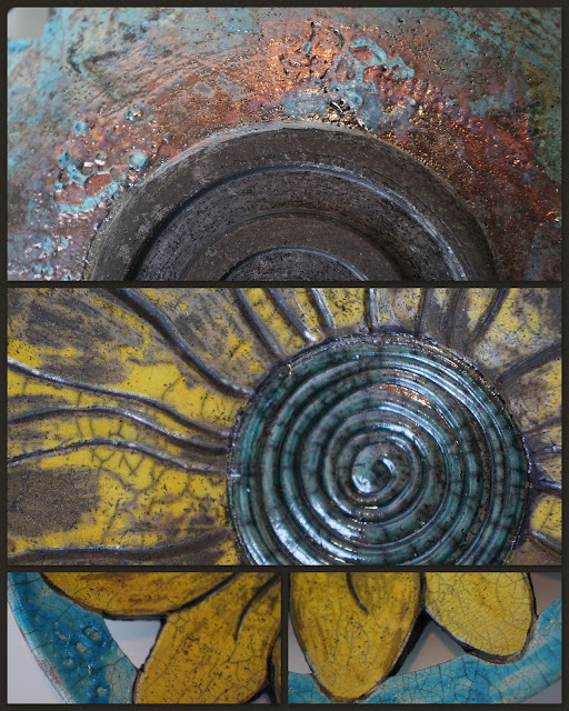 Details of a floral raku-fired ceramic plate by Lily L.