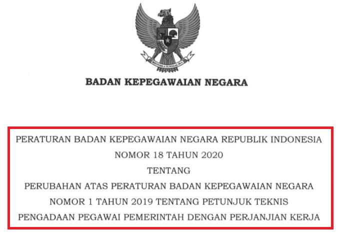 Juknis Seleksi Pppk 2021 Baca Peraturan Bkn No 18 Tahun 2020 Info Pendidikan Terbaru