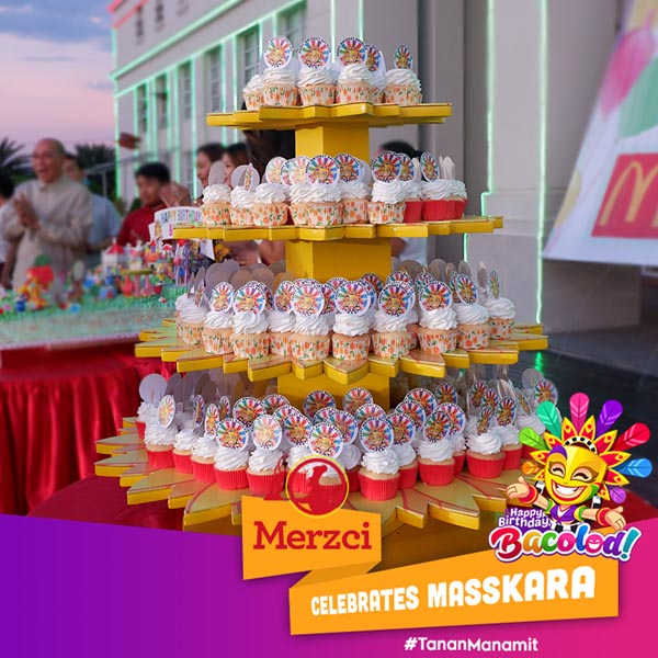 Merzci Pasalubong Masskara Festival - MassKara Photo Wall - Bacolod Tourism Strip - Bacolod City - Bacolod tourism - Electric MassKara - Merzci Bakeshop cupcake tower - Bacolod Government Center