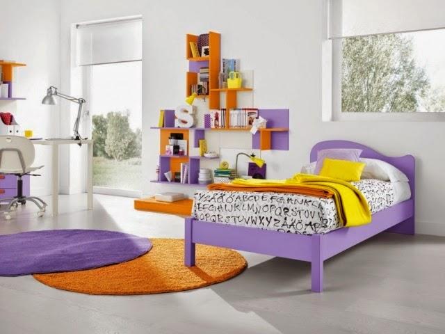 dormitorio naranja lila