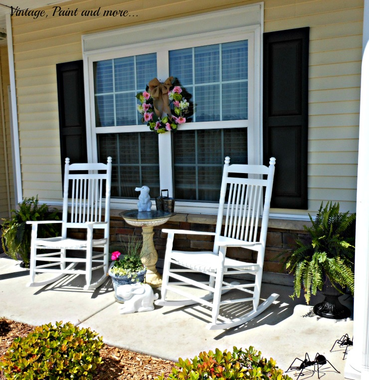 Vintage, Paint and more... Spring porch with vintage rockers, DIY faux flower wreath, DIY sun loving container gardens