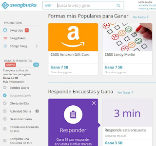Panel usuario Swagbucks