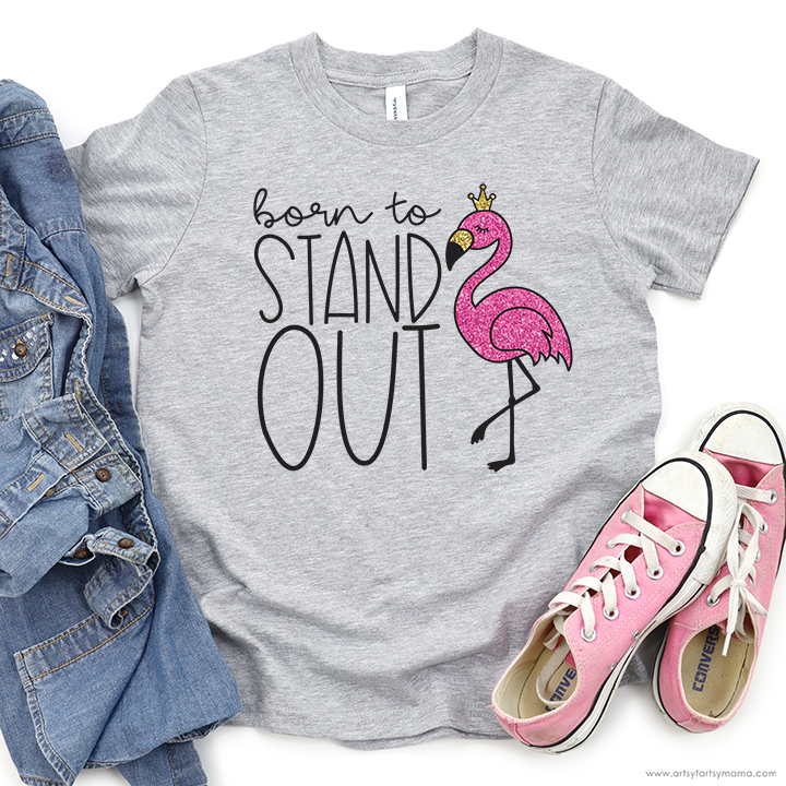 """Free """"Born to Stand Out"""" Flamingo SVG Cut File"""