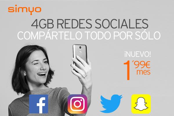Simyo nuevo bono redes sociales por 1,99 euros