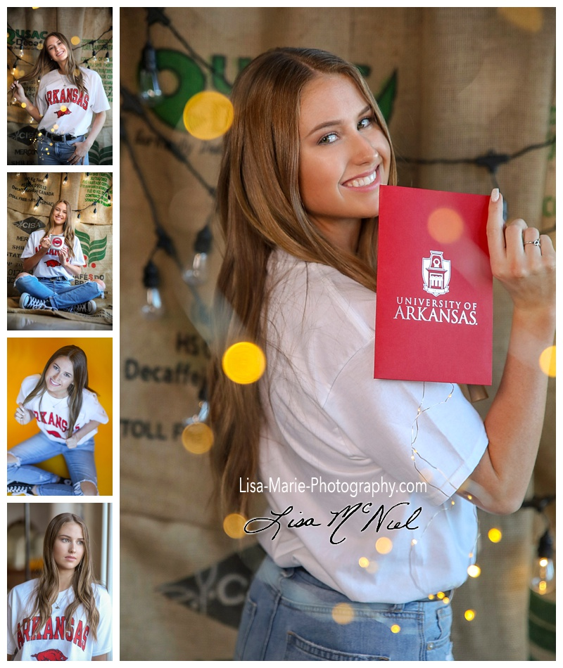 collage of poses of girl with college shirt