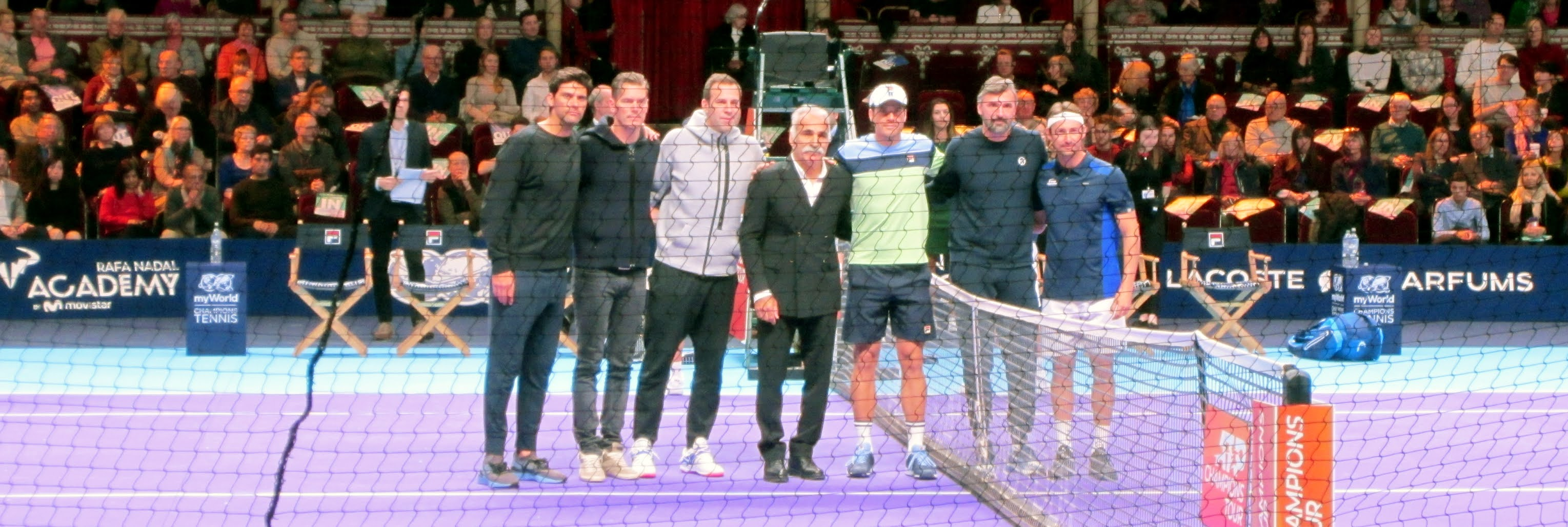 Mark Philippoussis, Greg Rusedski, Mansour Bahrami, Tommy Haas, Goran Ivanisevic and Juan-Carlos Ferrero pose for a photo before the myWorld Champions Tennis event at Royal Albert Hall