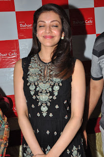Kajal Aggarwal in lovely Black Sleeveless Anarlaki Dress in Hyderabad at Launch of Bahar Cafe at Madinaguda 040.JPG