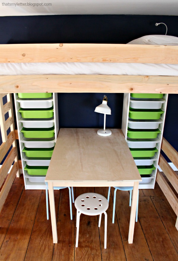 kids work table with storage towers