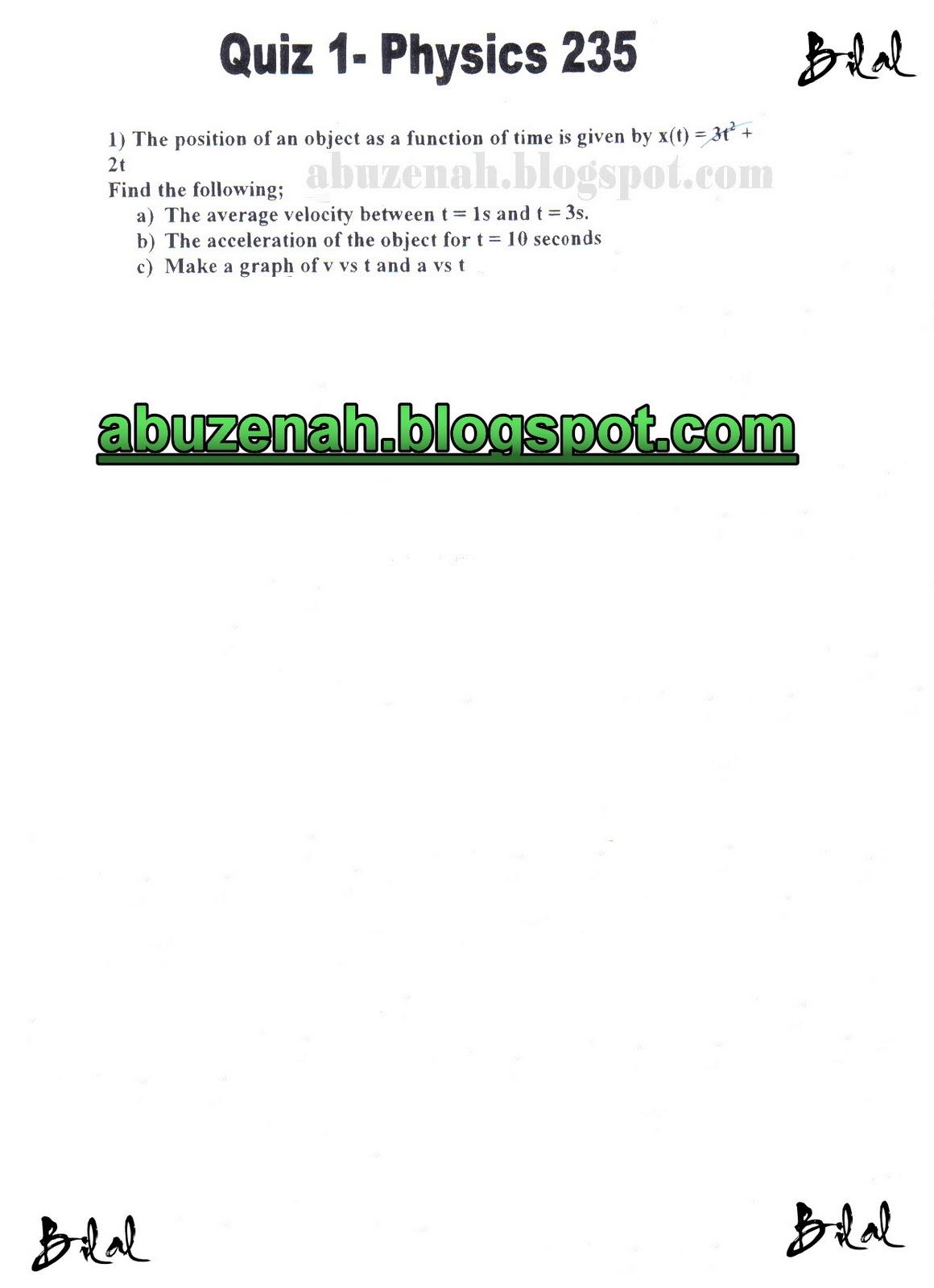 Tech 89 Physics 235 Quizzes