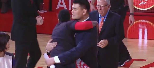 James Harden Jumps into Yao Ming's Arms like a Little Kid (VIDEO)