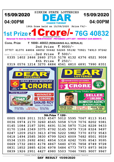Lottery Sambad Today 15.08.2020 Dear Chance Tuesday 4:00 pm