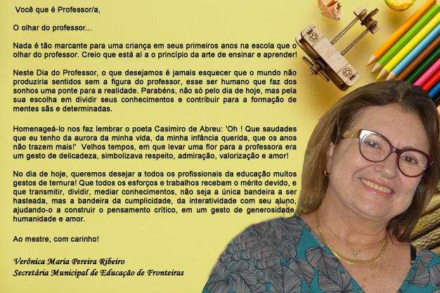 VERÔNICA PEREIRA FELICITA TODOS OS PROFESSORES DE FRONTEIRAS-PI.