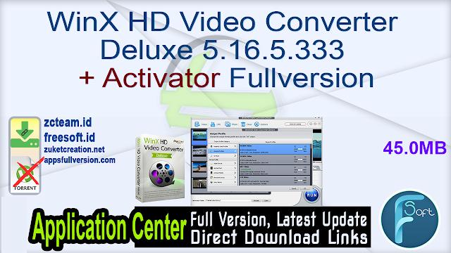 WinX HD Video Converter Deluxe 5.16.5.333 + Activator Fullversion