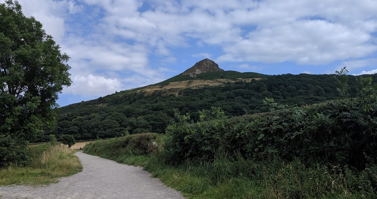 Climbing Roseberry Topping with Kids - view from the car park