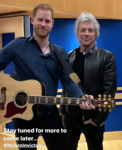 Livin' on an Heir: Prince Harry and Jon Bon Jovi jam at Abbey Road