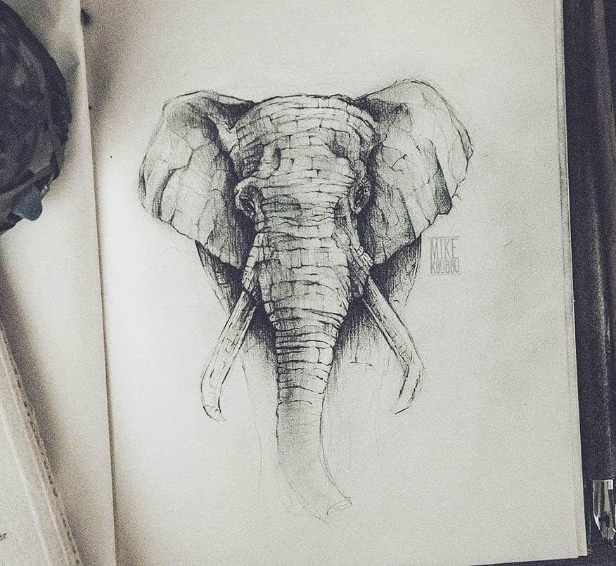 04-Elephant-Mike-Koubou-Staging-Ink-and-Pencil-Drawings-www-designstack-co