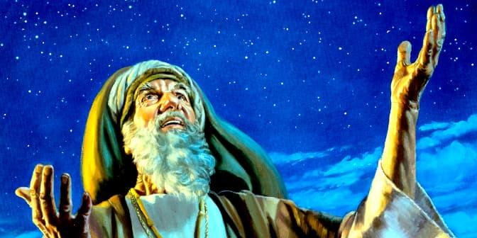 A imagem mostra uma representação de Abraão olhando para os céus com as mãos levantadas em posição de clamor a Deus.