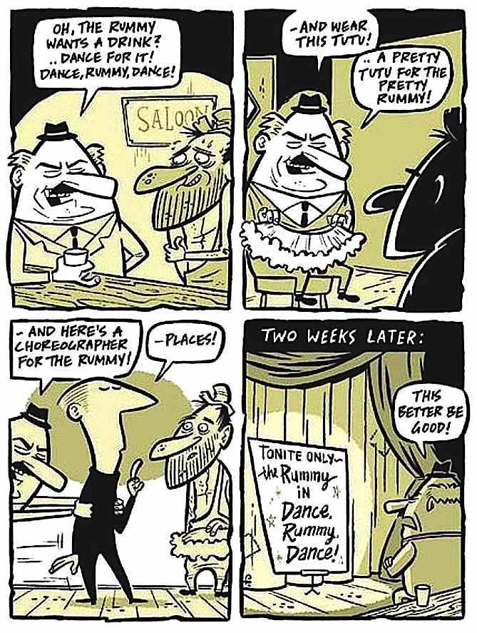 a Rod Filbrandt cartoon, Dance Rummy Dance