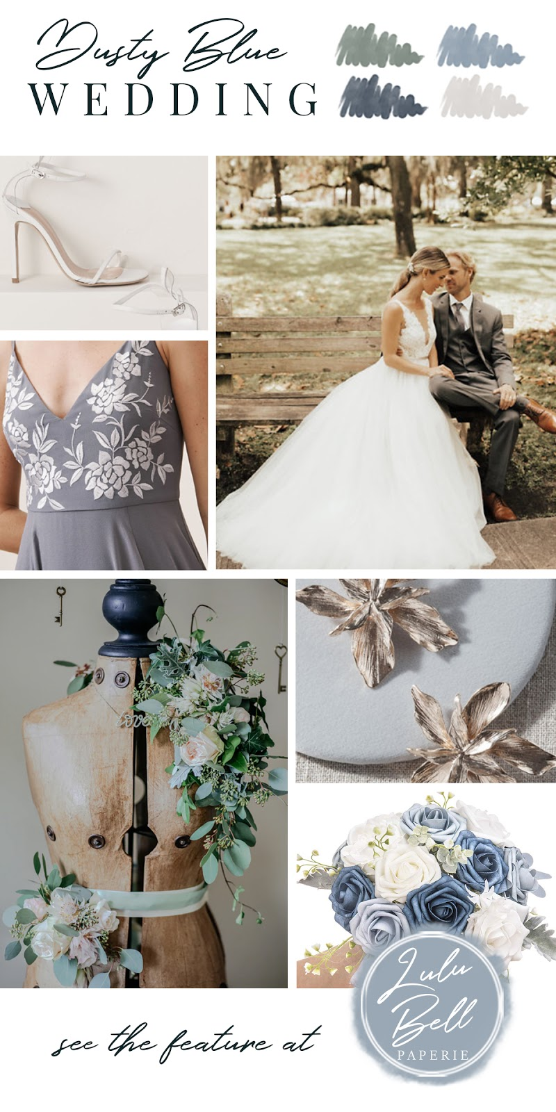 Dusty Blue, Green, Gray, and Navy Wedding Color Palette Inspiration
