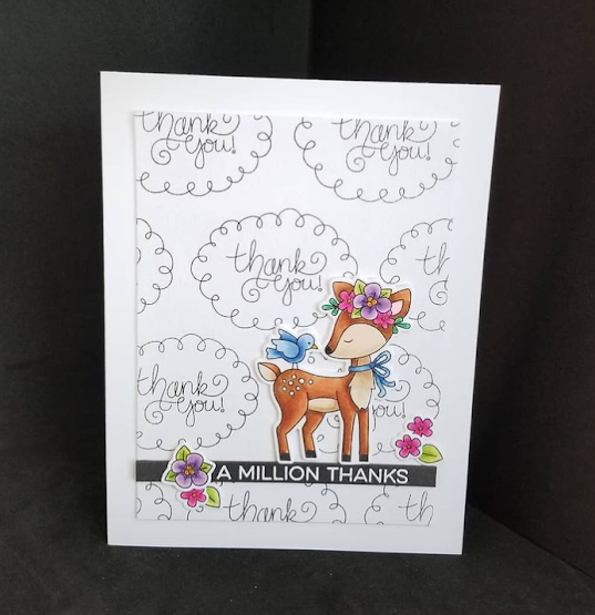 A million thanks by Karen features  Thank you (NND freebie) and  Woodland Spring by Newton's Nook Designs; #inkypaws, #newtonsnook, #cardmaking