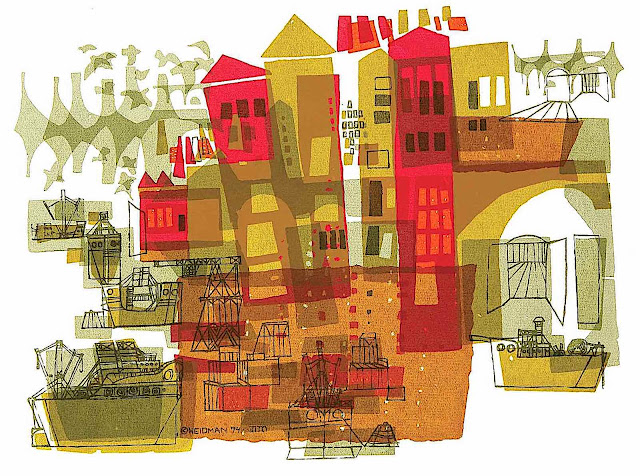 a David Weidman illustration of an urban city harbour with ships