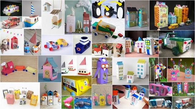 Κατασκευές για Παιδιά με χάρτινες Ανακυκλώσιμες Συσκευασίες από Γάλα - Χυμούς