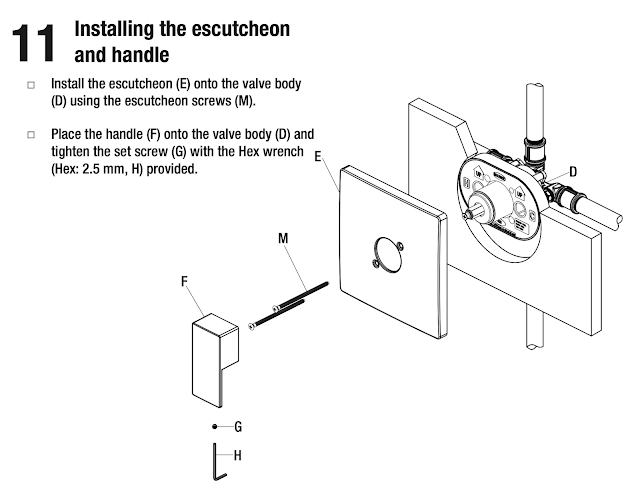shower faucet handle manual detail instruction drawing guide