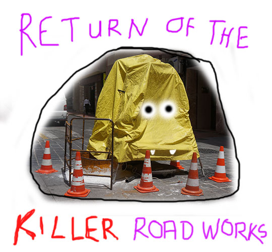 return of the killer road works, new film, film, horror movie, movie, new movie, scary film, scary movie, art, artist, artwork, Sam Freek,