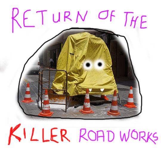return of the killer road works, new film, film, horror movie, movie, new movie, scary film, scary movie, art, artist, artwork, Sam Freek,