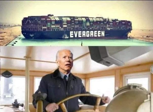 Tổng thống Biden lái con tàu ever given khỏi chỗ mắc kẹt