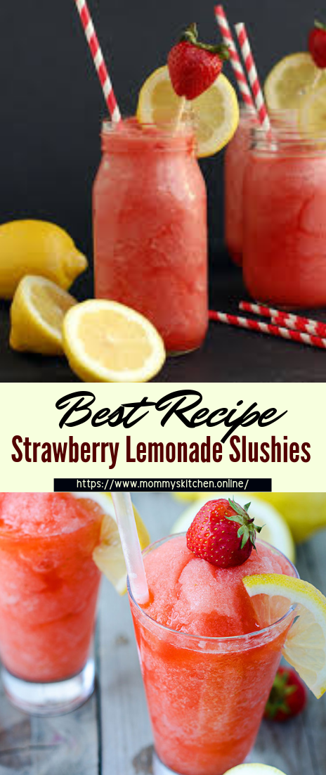 Strawberry Lemonade Slushies #healthydrink #easyrecipe #cocktail #smoothie