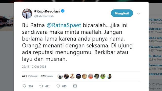 Tadinya Berlagak Sindir-sindir Tompi, Setelah Semakin Jelas Fahri Hamzah Akhirnya Minta Ratna Sarumpaet...