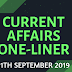 Current Affairs One-Liner: 11th September 2019